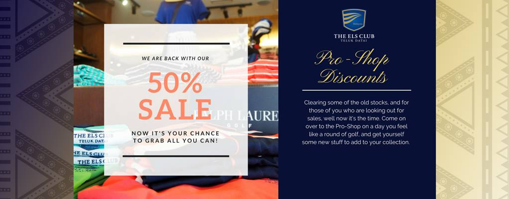 A flyer for Pro Shop Discounts at The Els Club Malaysia - Teluk Datai