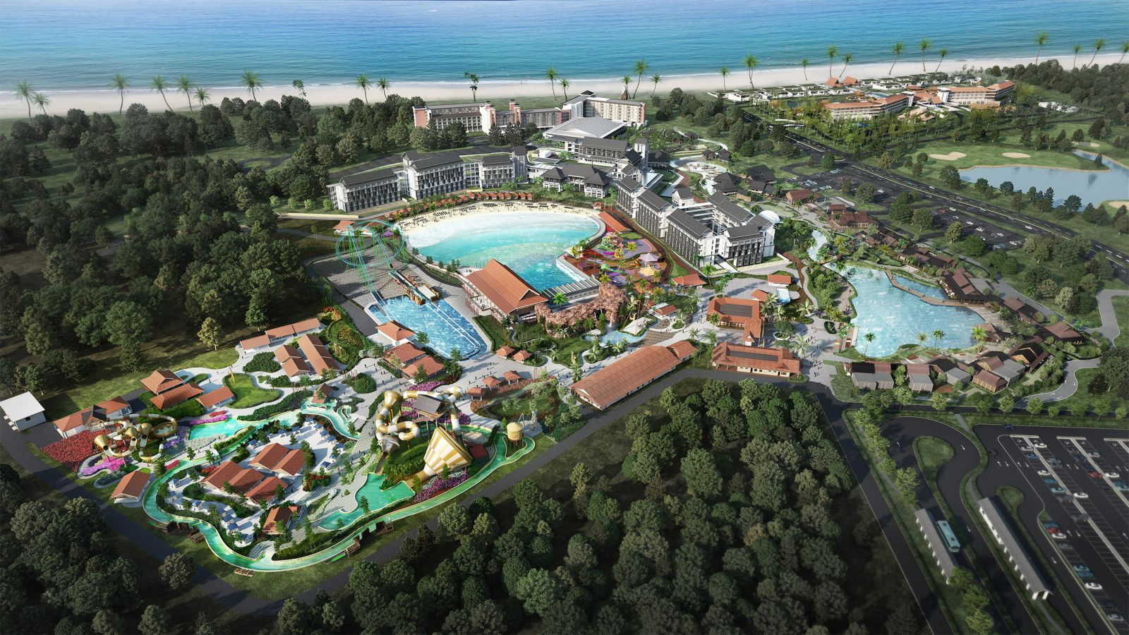 An aerial shot of the Desaru Coast Adventure Waterpark