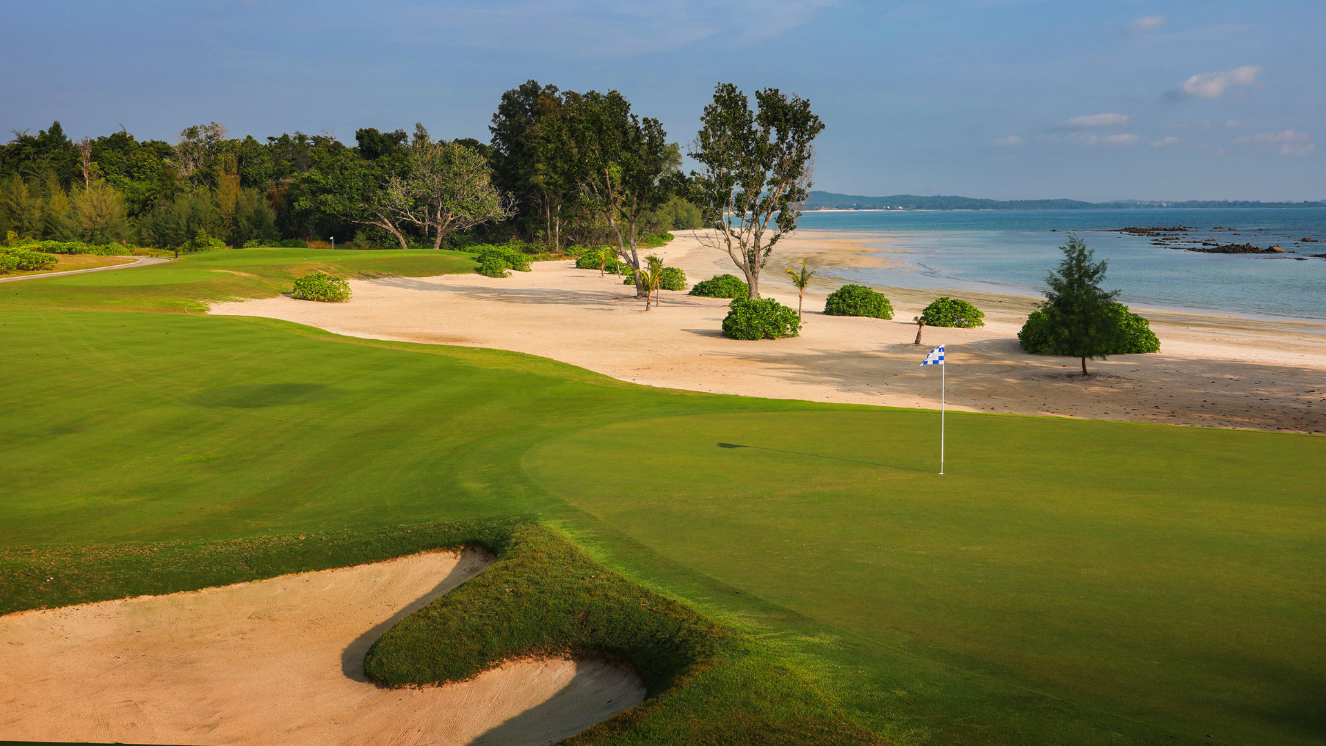 The water's edge rests right up next to the Ocean Course at The Els Club Malaysia - Desaru Coast
